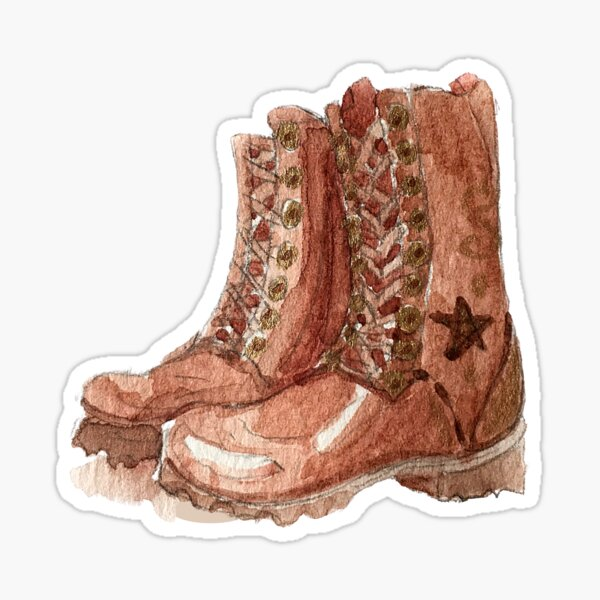 Red Ankle Boots with Star Insignia - Hedge Witch Boots Sticker