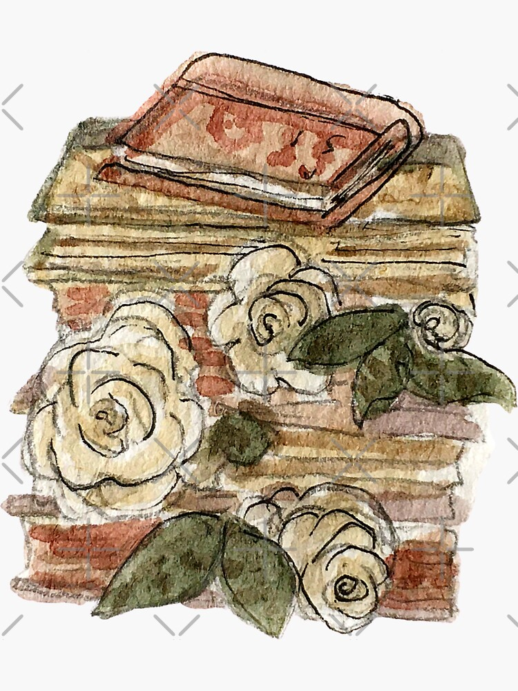 Book Stack and Roses - Hedge Witch Library  by WitchofWhimsy