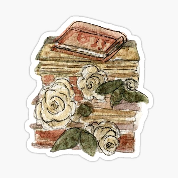 Book Stack and Roses - Hedge Witch Library  Sticker