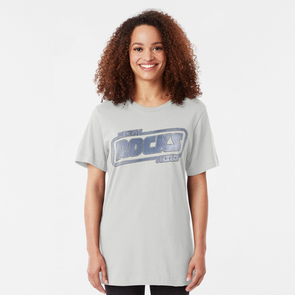 Metal Jesus Rocks - METAL LOGO Slim Fit T-Shirt