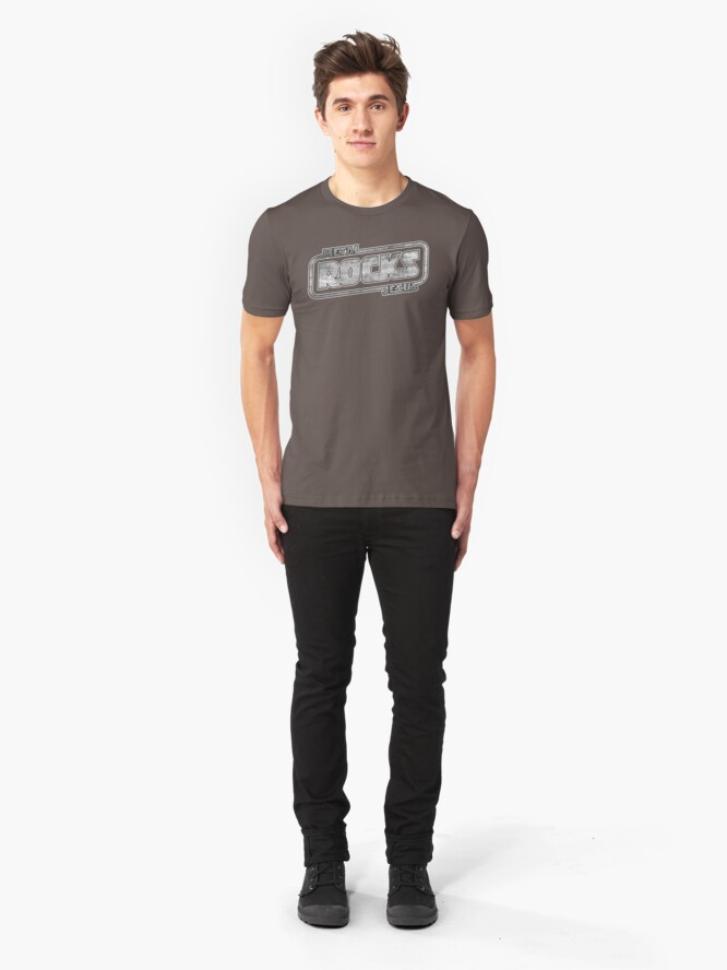 Alternate view of Metal Jesus Rocks - GUN METAL LOGO Slim Fit T-Shirt