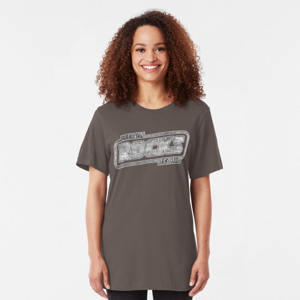 Metal Jesus Rocks - GUN METAL LOGO Slim Fit T-Shirt