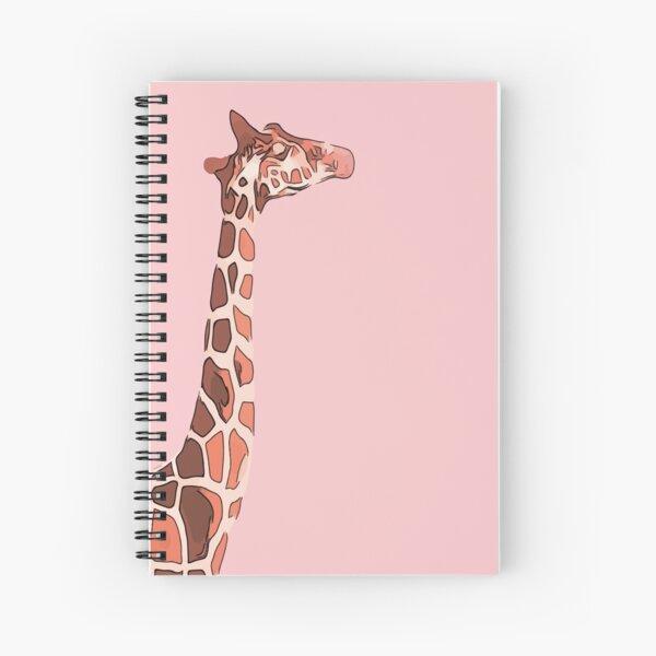 Giraffe image on a pink background Spiral Notebook
