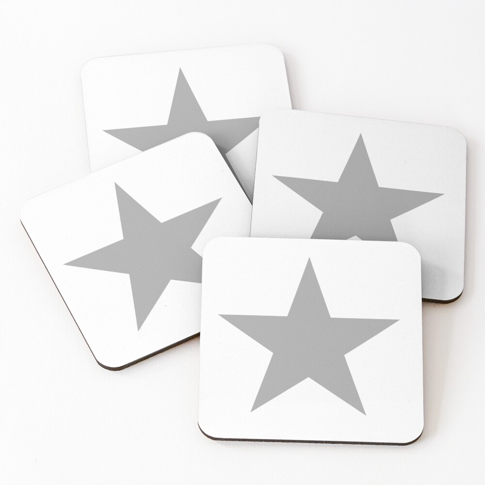 Grey Star on white. Coasters (Set of 4)