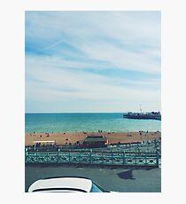 Brighton Beach and Pier Photographic Print
