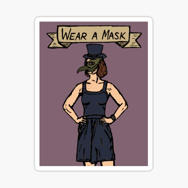 In the Covid-19 Era, the Plague Doctor asks you to Wear a Mask Sticker