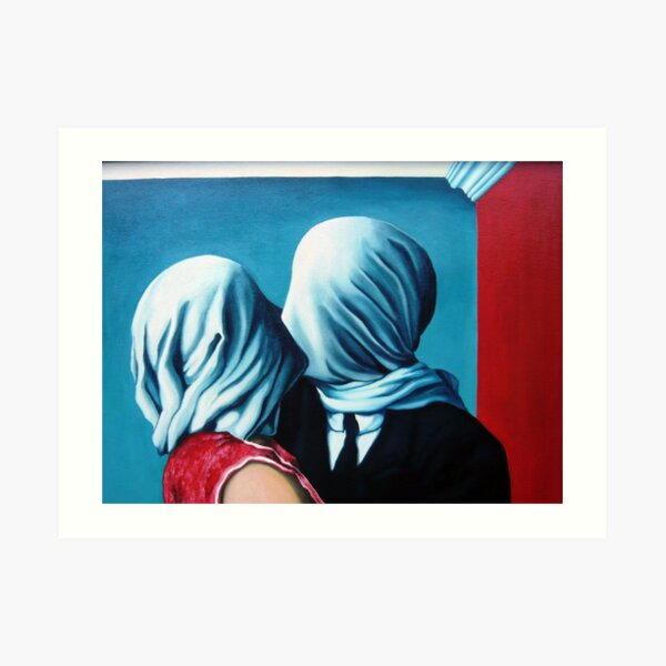 lovers renne magritte Art Print