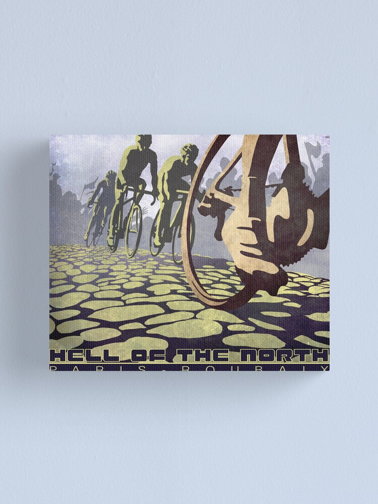Alternate view of cycling illustration HELL OF THE NORTH retro Paris Roubaix  Canvas Print