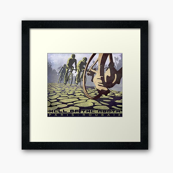 cycling illustration HELL OF THE NORTH retro Paris Roubaix  Framed Art Print
