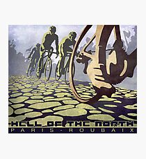 cycling illustration HELL OF THE NORTH retro Paris Roubaix  Photographic Print