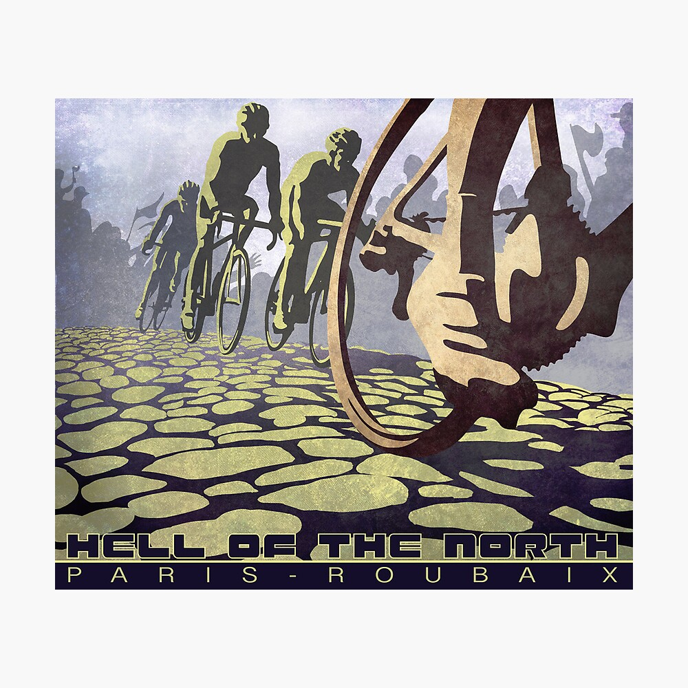 cycling illustration HELL OF THE NORTH retro Paris Roubaix  Fotodruck