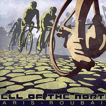 ilustración de ciclismo INFIERNO DEL NORTE retro Paris Roubaix de SFDesignstudio