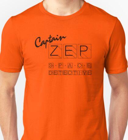 Captain Zep - Space Detective (black text) T-Shirt