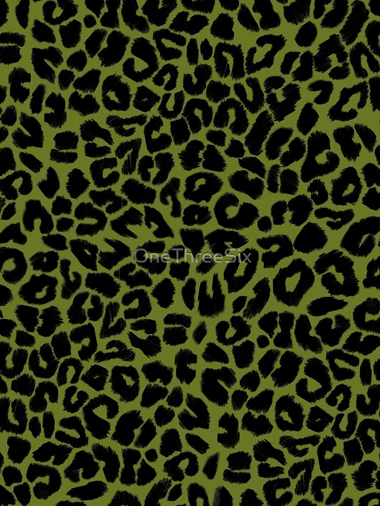 Leopard Print Pattern in Green and Black by OneThreeSix