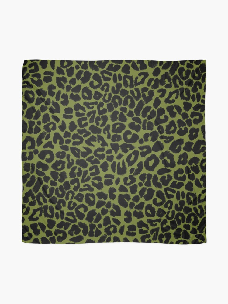 Alternate view of Leopard Print Pattern in Green and Black Scarf