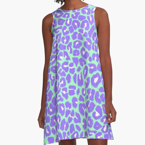 Leopard Print Pattern in Mint Green, Purple and White A-Line Dress
