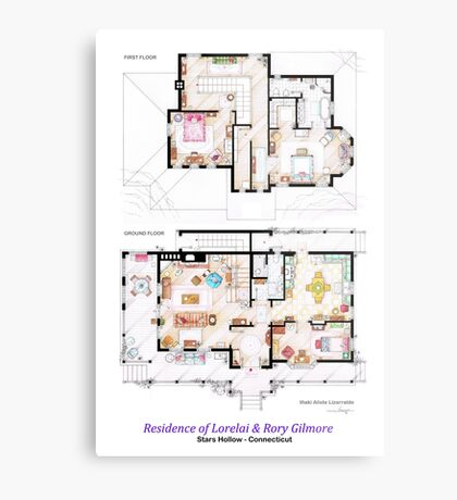 House of Lorelai & Rory Gilmore - Both Floorplans Metal Print