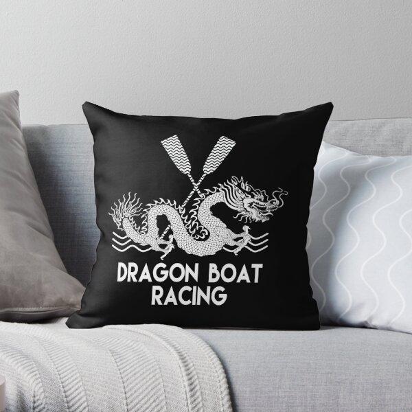 Black White Dragon Boat Racing Throw Pillow