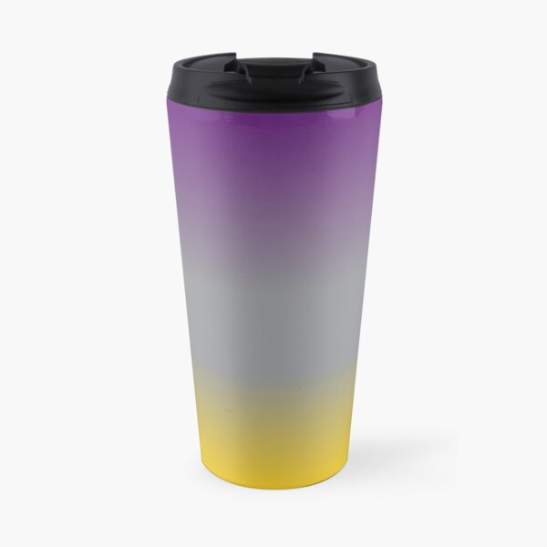Purple, Grey, and Yellow Gradient  Travel Mug