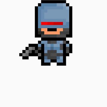 Pixel Robocop Sticker by PixelBlock