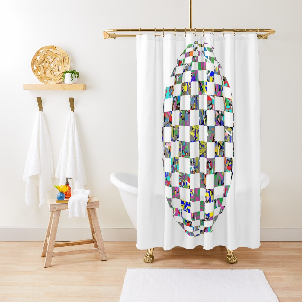 Checkered thrasher phone case - пестрый, motley, variegated, mottled, pied, checkered, patchwork, разноцветный Shower Curtain