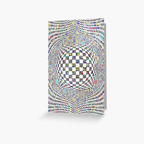 Op art whirlpool - пестрый, motley, variegated, mottled, pied, checkered, patchwork, разноцветный Greeting Card
