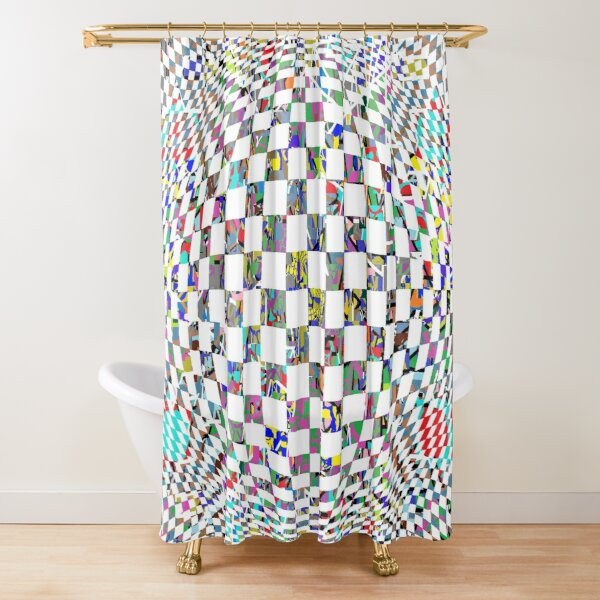 Op art whirlpool - пестрый, motley, variegated, mottled, pied, checkered, patchwork, разноцветный Shower Curtain