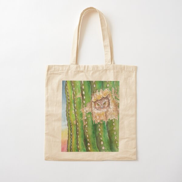 Elf Owl in Saguaro, Sonoran Desert Cotton Tote Bag