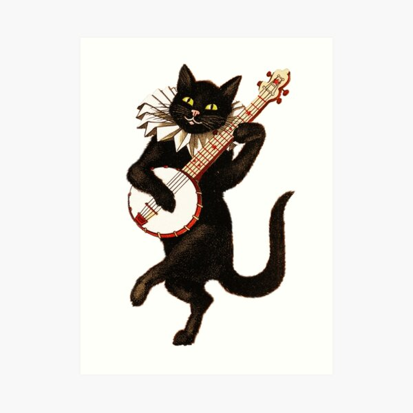 Funny Vintage Cat Dancing and Playing Banjo Art Print
