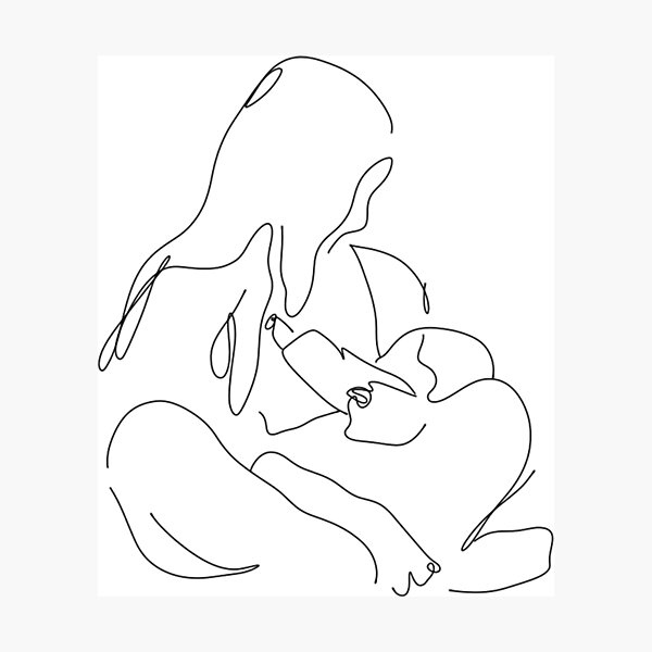 Breastfeeding Mother With Baby  Photographic Print