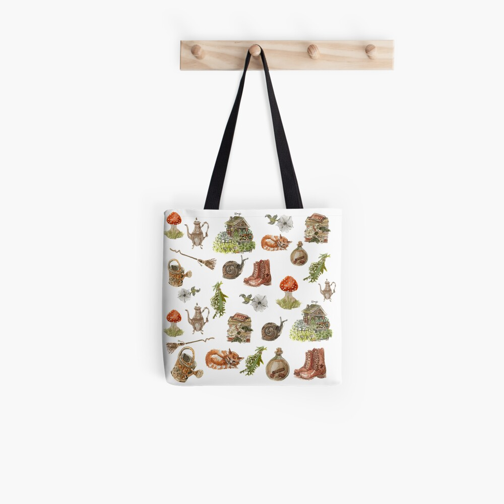 Whimsical Hedge Witch Pattern on White Background Tote Bag