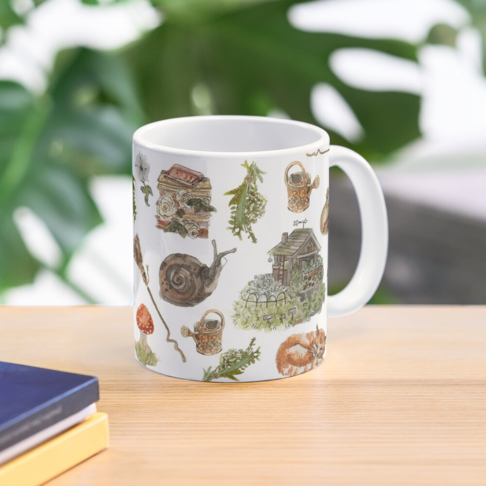 Whimsical Hedge Witch Pattern - Wrap Around with White Background Mug