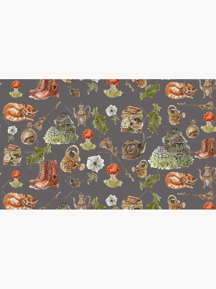 Whimsical Hedge Witch Pattern - Wrap Around with Dark Background by WitchofWhimsy