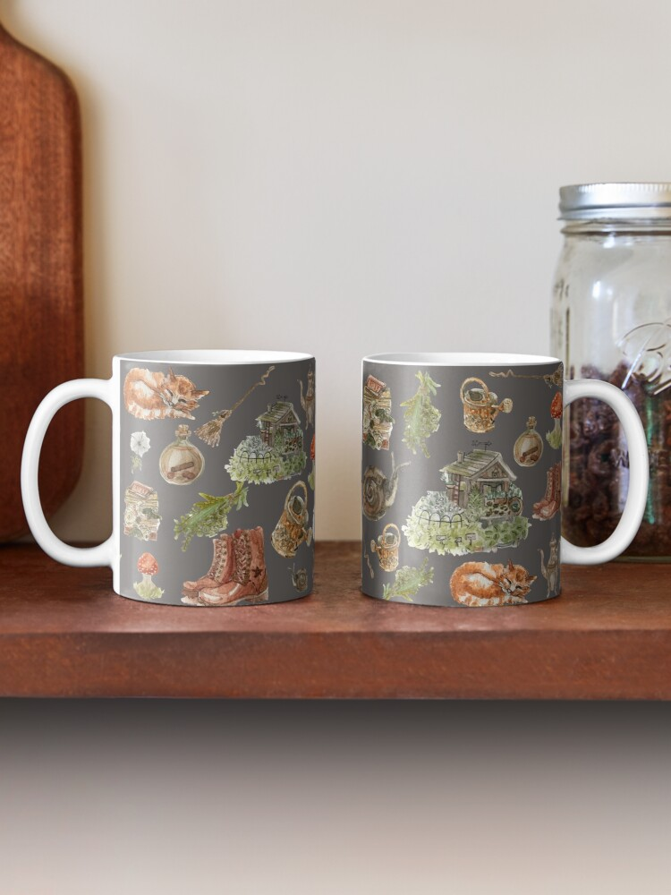 Alternate view of Whimsical Hedge Witch Pattern - Wrap Around with Dark Background Mug