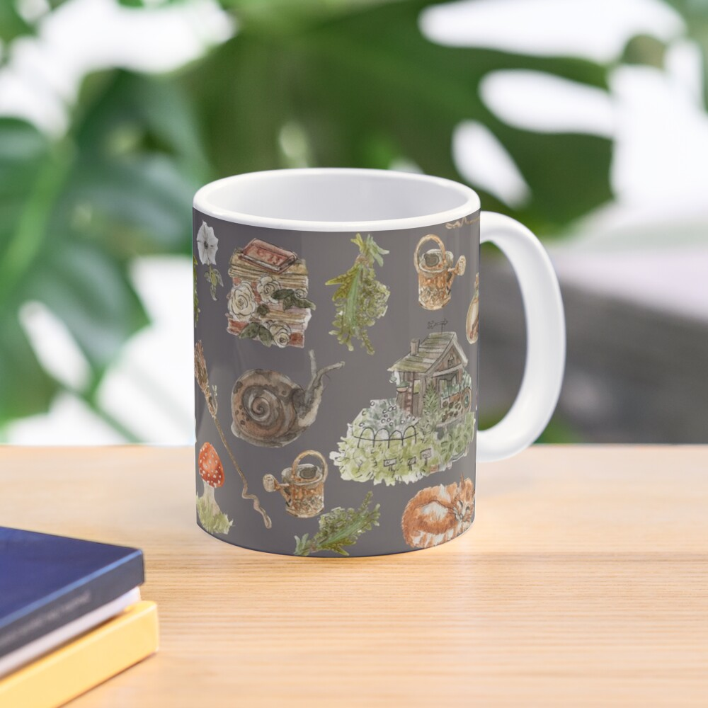 Whimsical Hedge Witch Pattern - Wrap Around with Dark Background Mug