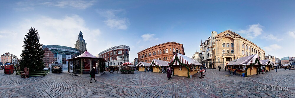 Doma square panorama, Riga, Latvia in Christmas by paulsrphoto