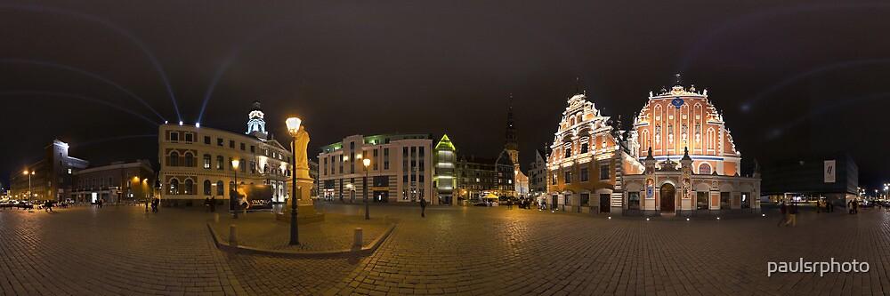 BLACKHEADS HOUSE PANORAMA AT NIGHT, RIGA, LATVIA by paulsrphoto