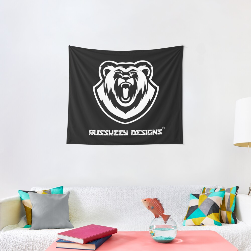 Russkeey Designs Logo (White) Tapestry