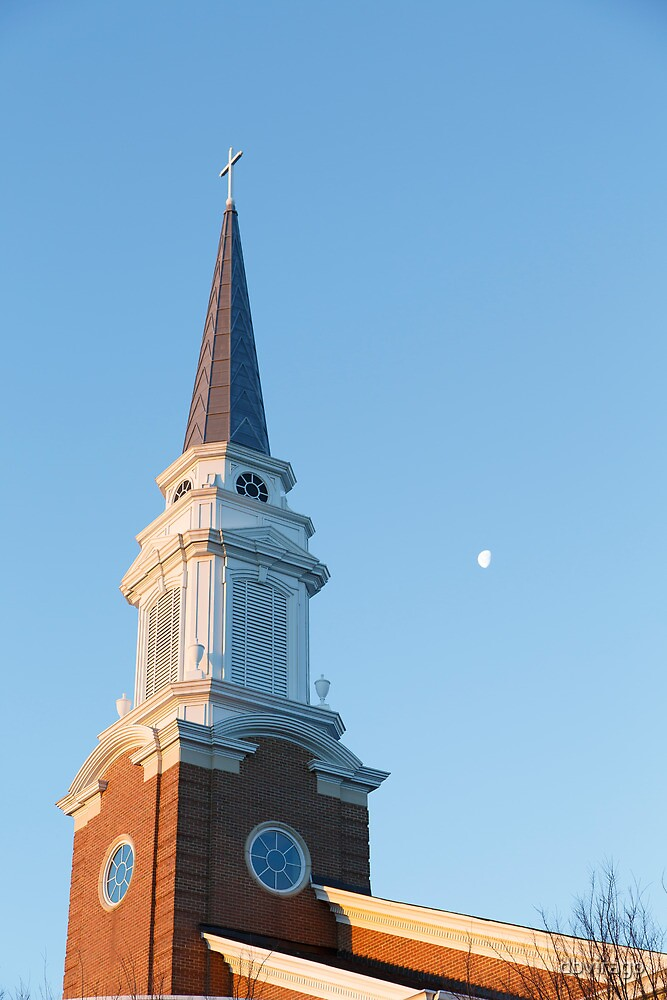 Early Morning Steeple with Moon by dbvirago
