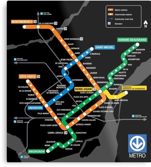 Stcum Metro Map.Stm Montreal Metro Metal Prints By Ianscott76 Redbubble