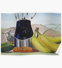Surreal Fruit Vegetable Still Life with Sheep Poster