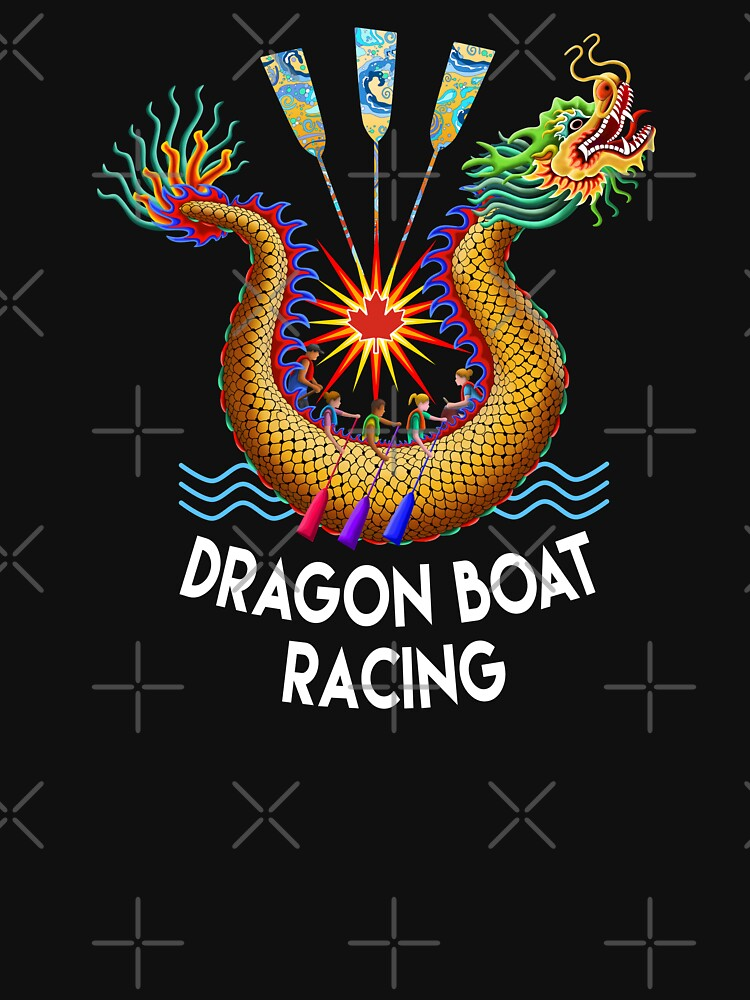 Red Maple Leaf Dragon Boat Logo T-Shirt by 99stars