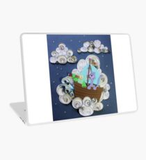 Owl and Pussycat on clouds. Paper Art. Laptop Skin