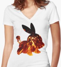 Tepig used Incinerate Women's Fitted V-Neck T-Shirt