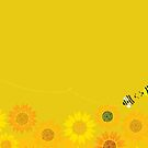 Bees over the Sunflowers by rusanovska