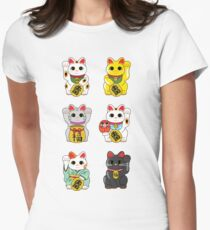 Lucky Cat / Maneki Neko Women's Fitted T-Shirt