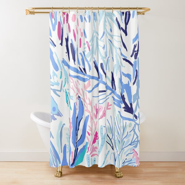 Lilly Pulitzer inspired Kaleidoscope Coral Shower Curtain