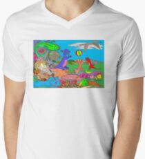 Doodlesaurs Mens V-Neck T-Shirt