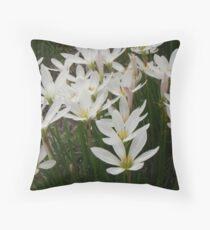 Flowering White Crocus Bulbs Throw Pillow