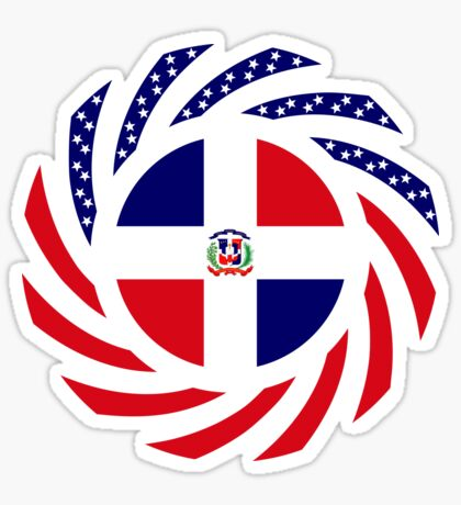 Dominican American Multinational Patriot Flag Series Glossy Sticker
